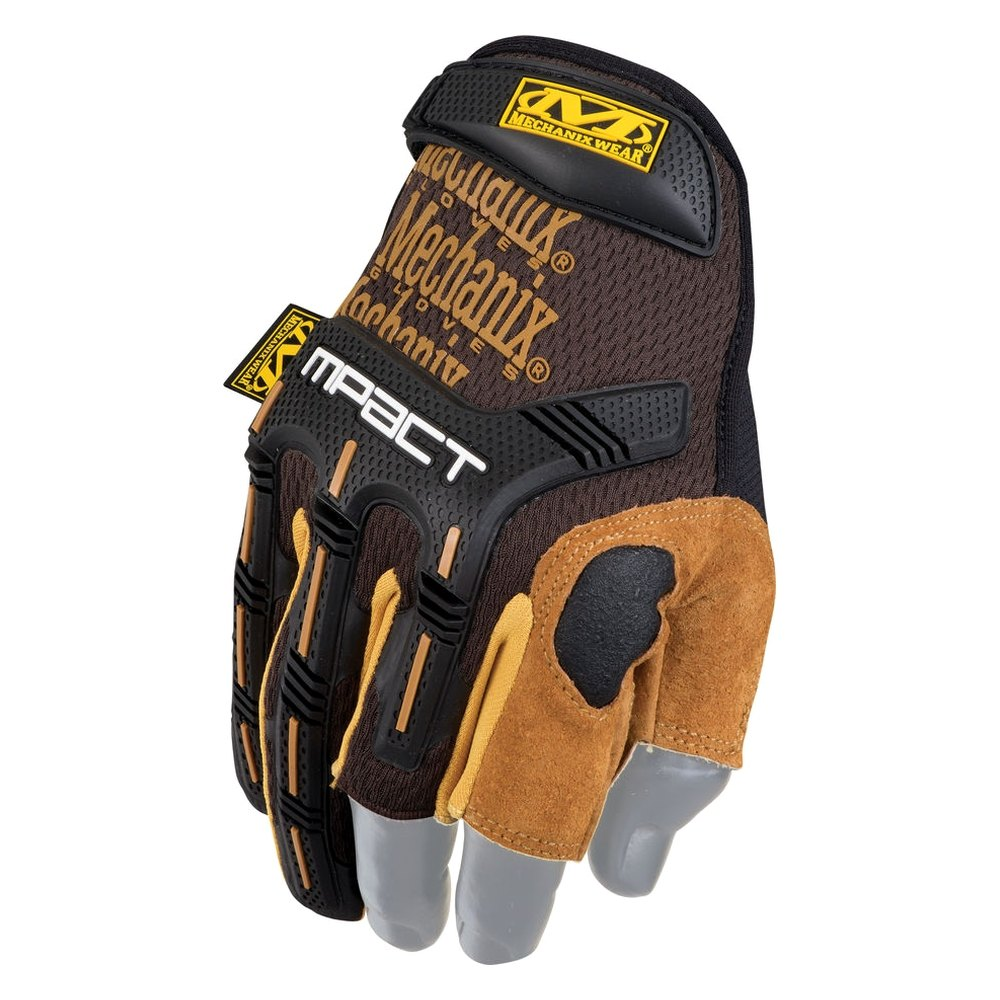 Cimdi Mechanix M-Pact Framer Leather melni/brūni 10/L