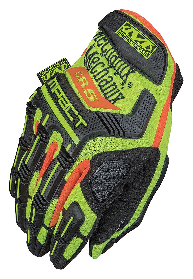 Gloves MECHANIX Hi-Viz M-Pact® E5 yellow 11/XL, level E5 Cut protection palm, touchscreen capable