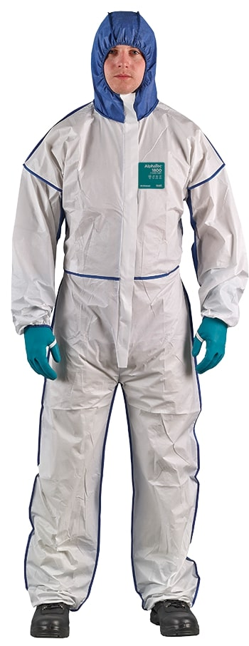 Disposable coverall Type 5/6 Ansell Alphatec 1800 Comfort, white/blue, beathable full back, size L