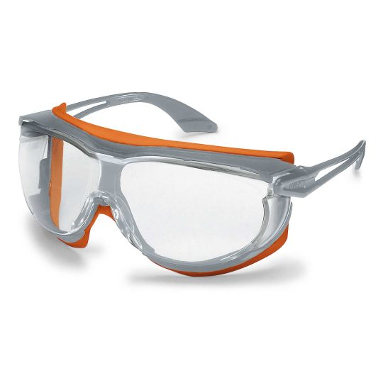Safety spectacles Uvex Skyguard NT, clear lense, supravision excellence coating (non fogging, non scratching), plastic side arms, soft TPU seal, grey/orange