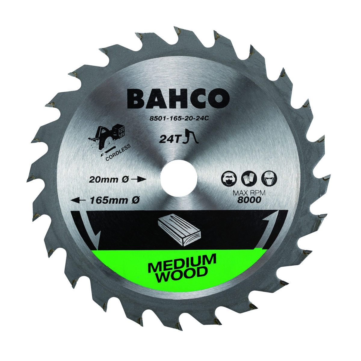 Circular saw blade for cordless saw machines 165x10/16/20mm 24T for wood