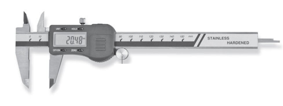 Digital pocket caliper with jumbo display 150x40mm 0,01mm type 230, with carbide measuring faces